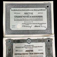 Coleccionismo Acciones Extranjeras: ALEMANIA. PERÍODO NAZI III REICH. 2 ACCIONES DE 1000 REICHSMARK DE 1940. Lote 219432848