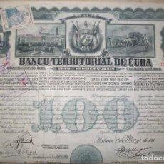 Collectionnisme Actions Internationales: ACCIÓN DE 100 PESOS ORO DEL BANCO TERRITORIAL DE CUBA. LA HABANA, 1911.. Lote 219477436