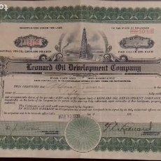 Coleccionismo Acciones Extranjeras: LEONARD OIL DEVELOPMENT COMPANY DELAWARE USA CERTIFICADO 50 ACCIONES 13 MARZO 1930. Lote 224385078