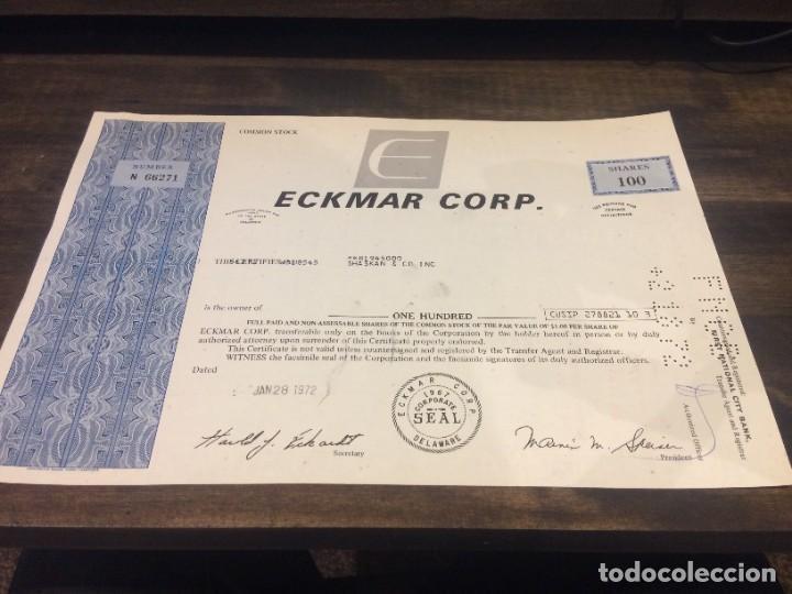 ACCIONES ECKMAR CORPORATION - 100 ACCIONES DEL AÑO 1972 (Coleccionismo - Acciones Internacionales)