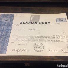 Coleccionismo Acciones Extranjeras: ACCIONES ECKMAR CORPORATION - 100 ACCIONES DEL AÑO 1972. Lote 224791953