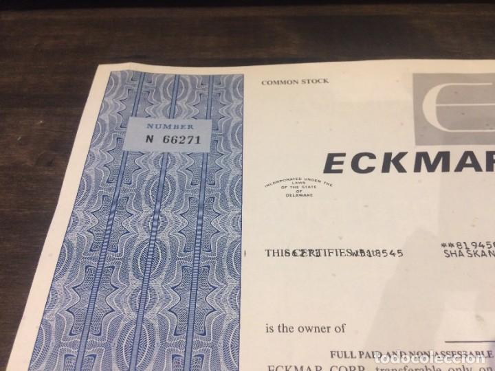 Coleccionismo Acciones Extranjeras: ACCIONES ECKMAR CORPORATION - 100 ACCIONES DEL AÑO 1972 - Foto 3 - 224791953