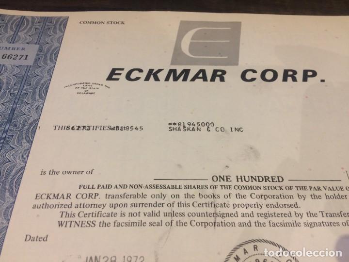Coleccionismo Acciones Extranjeras: ACCIONES ECKMAR CORPORATION - 100 ACCIONES DEL AÑO 1972 - Foto 4 - 224791953