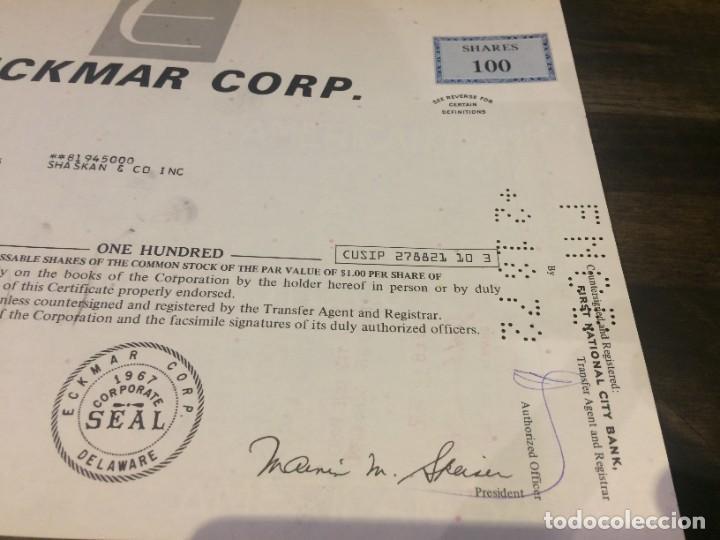 Coleccionismo Acciones Extranjeras: ACCIONES ECKMAR CORPORATION - 100 ACCIONES DEL AÑO 1972 - Foto 5 - 224791953
