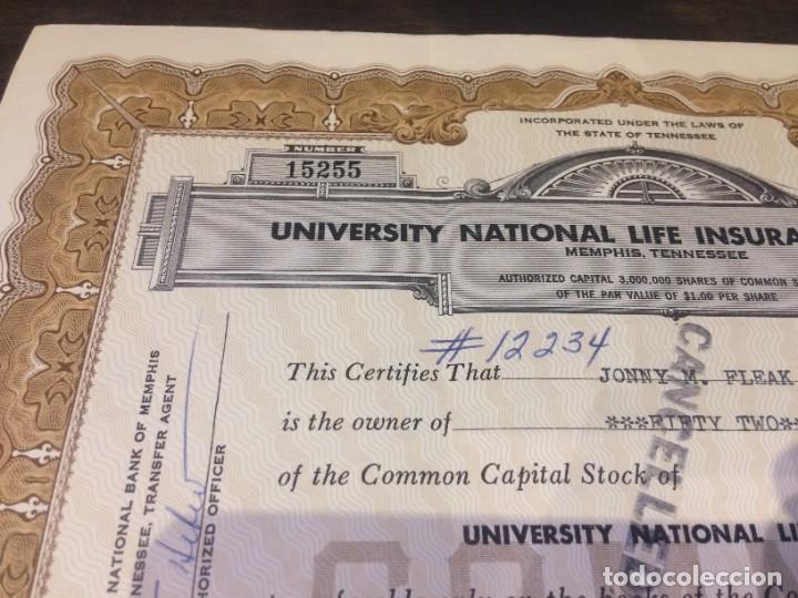 Coleccionismo Acciones Extranjeras: ACCIONES UNIVERSITY NATIONAL LIFE INSURANCE COMPANY - 52 ACCIONES DEL AÑO 1981- CANCELADAS - Foto 2 - 224792225