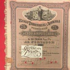 Collectionnisme Actions Internationales: ACCION BANCO TERRITORIAL AGRICOLA DE PUERTO RICO 1895-1915. Lote 224887473