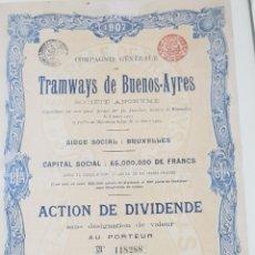 Collezionismo Azioni Internazionali: ACCION TRANVIAS DE BUENOS AIRES. ARGENTINA. 1907. Lote 225862425