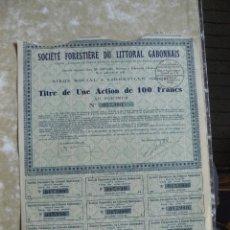 Collezionismo Azioni Internazionali: ACCIÓN O BONO DE 100 FRANCOS DE GABON 1932. Lote 226862584