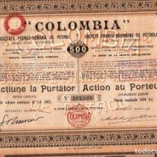 """Coleccionismo Acciones Extranjeras: """"COLOMBIA"""" SOCIEDA FRANCO-RUMANA DE PETROLEO. Lote 232740215"""