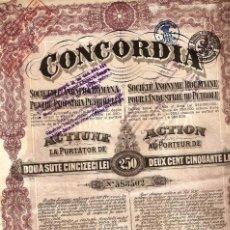 Coleccionismo Acciones Extranjeras: CONCORDIA SOCIEDAD ANÓNIMA RUMANA PARA LA INDUSTRIA DEL PETROLEO. Lote 232742765