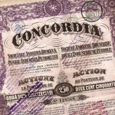 Coleccionismo Acciones Extranjeras: CONCORDIA SOCIEDAD ANÓNIMA RUMANA PARA LA INDUSTRIA DEL PETROLEO. Lote 232743820