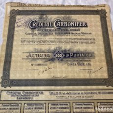Collectionnisme Actions Internationales: SOCIETATE ANONIMA MINIERA CREDITUL CARBONIFERBUCARESTI 1920. Lote 235810715