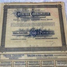 Collectionnisme Actions Internationales: SOCIETATE ANONIMA MINIERA CREDITUL CARBONIFERBUCARESTI 1920. Lote 235811140