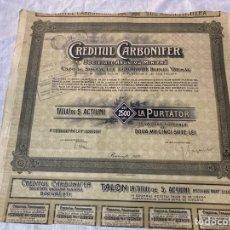 Collectionnisme Actions Internationales: SOCIETATE ANONIMA MINIERA CREDITUL CARBONIFERBUCARESTI 1920. Lote 235811395