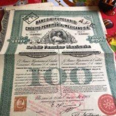 Coleccionismo Acciones Extranjeras: ANTIGUA ACCIÓN BANCO HIPOTECARIO MEJICANO. Lote 235940215