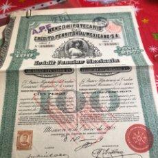Coleccionismo Acciones Extranjeras: ANTIGUA ACCIÓN BANCO HIPOTECARIO MEJICANO. Lote 235940300
