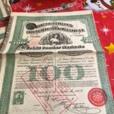 Coleccionismo Acciones Extranjeras: ANTIGUA ACCIÓN BANCO HIPOTECARIO MEJICANO. Lote 235940375