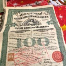 Coleccionismo Acciones Extranjeras: ANTIGUA ACCIÓN BANCO HIPOTECARIO MEJICANO. Lote 235940470