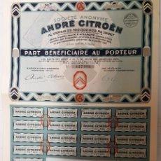 Collectionnisme Actions Internationales: ANTIGUA ACCIÓN, ANDRÉ CITROËN, SOCIÉTE ANONYME, 1927. Lote 200844960