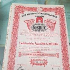 Coleccionismo Acciones Extranjeras: ACCION FUNDICION LES FONDERIES BRUXELLOISES BRUSELAS BELGICA FOBRUX 1944. Lote 239978530