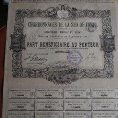 Coleccionismo Acciones Extranjeras: ACCIÓN CHARBONNAGES DE LA SEO DE URGEL - CONCESSIONS MINERVA ET ELISA - 1893 MINAS CARBÓN URGELL. Lote 243353025