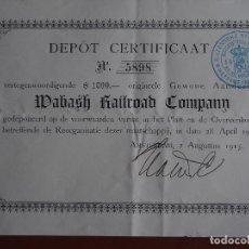 Coleccionismo Acciones Extranjeras: CERTIFICADO DE DEPÓSITO DE ACCIONES WABASH RAILROAD COMPANY 1915 ILLINOIS AMSTERDAM FERROCARRILES. Lote 244815770