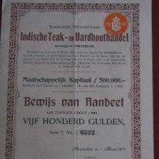 Coleccionismo Acciones Extranjeras: ACCIÓN INDISCHE TEAK- EN HARDHOUTHANDEL 1914 MADERAS AMSTERDAM INDONESIA. Lote 244816540