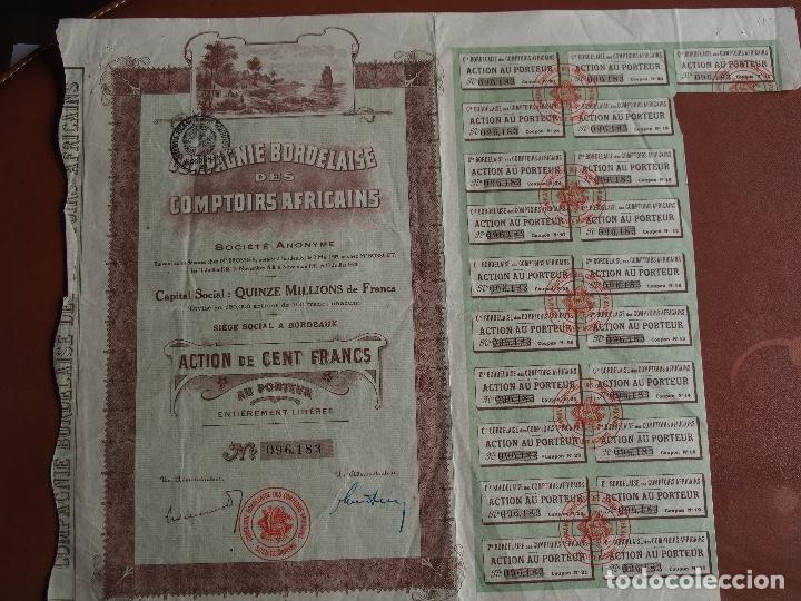 ACCIÓN COMPAGNIE BORDELAISE DES COMPTOIRS AFRICAINS 1920 AFRICA BORDEAUX BURDEOS (Coleccionismo - Acciones Internacionales)