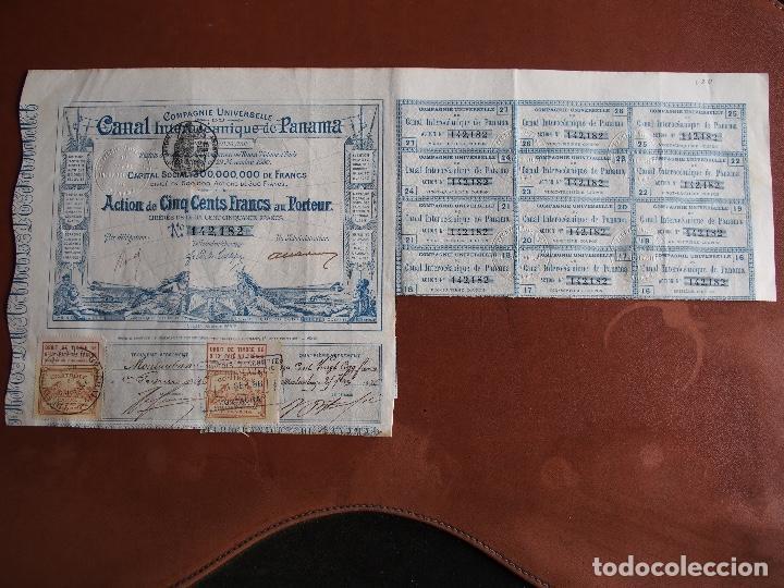 ACCIÓN COMPAGNIE UNIVERSELLE DU CANAL INTEROCÉANIQUE DE PANAMA 1880 (Coleccionismo - Acciones Internacionales)