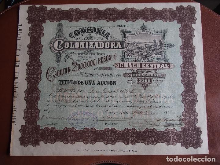 ACCIÓN COMPAÑÍA COLONIZADORA DEL CHACO CENTRAL 1889 BUENOS AIRES ARGENTINA (Coleccionismo - Acciones Internacionales)