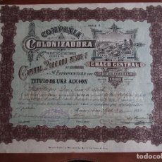 Coleccionismo Acciones Extranjeras: ACCIÓN COMPAÑÍA COLONIZADORA DEL CHACO CENTRAL 1889 BUENOS AIRES ARGENTINA. Lote 245951485