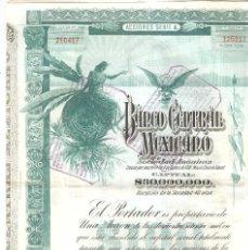 Coleccionismo Acciones Extranjeras: MEXICO 1908 BANCO CENTRAL MEXICANO.. Lote 247123840