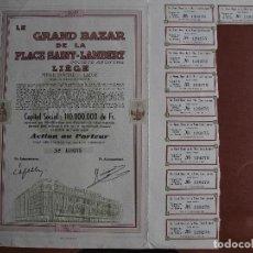 Coleccionismo Acciones Extranjeras: ACCIÓN LE GRAND BAZAR DE LA PLACE SAINT-LAMBERT LIÈGE - 1950 LIEJA BÉLGICA COMERCIO. Lote 247325865