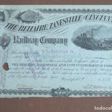 Coleccionismo Acciones Extranjeras: ACCIÓN THE BELLAIRE, ZANESVILLE AND CINCINNATI RAILWAY COMPANY 1883 FERROCARRIL. Lote 247487465