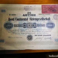 Coleccionismo Acciones Extranjeras: CERTIFICADO 25 ACCIONES HOTEL CONTINENTAL AUSTRIA 1921. Lote 249590135