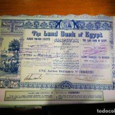 Coleccionismo Acciones Extranjeras: AUTENTICA ACCIÓN THE LAND BANK OF EGYPT 1905 5 LIBRAS. Lote 249590900