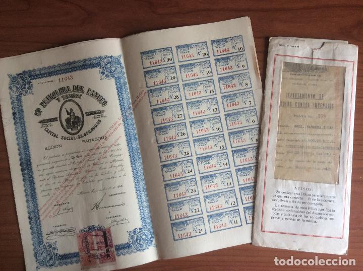 3 ACCIONES CIA PETROLERA DEL PANUCO 1916 Y POLIZA SEGUROS CIA DE SEGUROS SA 1960 (Coleccionismo - Acciones Internacionales)