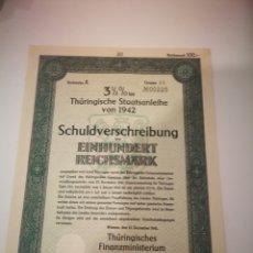 Coleccionismo Acciones Extranjeras: AUTÉNTICO BONO ALEMAN 100 MARCOS 1941 2GM. Lote 264522399