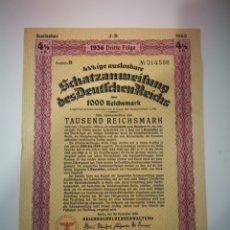 Coleccionismo Acciones Extranjeras: AUTÉNTICO BONO ALEMAN 1000 MARCOS 1936 TERCER REICH. Lote 264522804