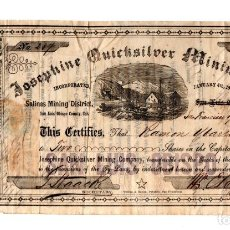 Coleccionismo Acciones Extranjeras: ACCIONES DE LA EMPRESA MINERA JOSEPHINE QUICKSILVER MINING CO. EMITIDAS EN CALIFORNIA EN 1864. Lote 266113148