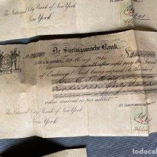 Coleccionismo Acciones Extranjeras: DE SURINAAMSCHE BANK , PARAMARIBO , NEW YORK , LOTE DE 5 CHEQUES 1930 , 1931 , 1932. Lote 267630604