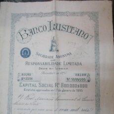 Coleccionismo Acciones Extranjeras: SHARE ACCION PORTUGAL Nº 3546 - 1895 - BANCO LUSITANO LISBOA - NOMINATIVA DOBLE FOLIO 62X42CM +. Lote 267564809