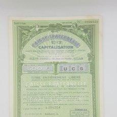Coleccionismo Acciones Extranjeras: ACCION DE CAISSE FRATERNELLE EN MUY BUEN ESTADO 1956 B1. Lote 268042794