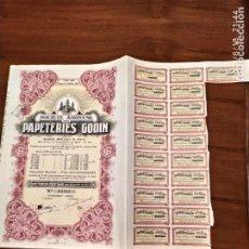 Coleccionismo Acciones Extranjeras: ACCIONES DE LA SOCIEDD ANONIA PAPETERIES GODIN. Lote 270375743