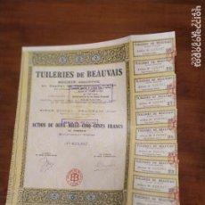 Coleccionismo Acciones Extranjeras: ACCIONES DE TUILLERIES DE BEAUVAIS. Lote 270376578