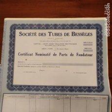 Coleccionismo Acciones Extranjeras: ACCIONES DE SOCIETE DES TUBES DE BESSEGES. Lote 270377308