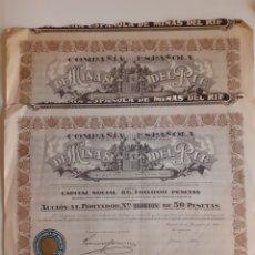Coleccionismo Acciones Extranjeras: 2 ACCIONES DE 50 PTS DE MINAS DEL RIF. 1946.. Lote 276917753