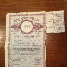 Coleccionismo Acciones Extranjeras: TITULO DE DEUDA PUBLICA FRANCESA. FRANCIA 1932. Lote 277656378