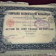 Collectionnisme Actions Internationales: 1916, ANTIGUA ACCIÓN FRANCESA, COMPAÑÍA OCCIDENTAL DE MADAGASCAR, 45 X 33 CMS.. Lote 287060588