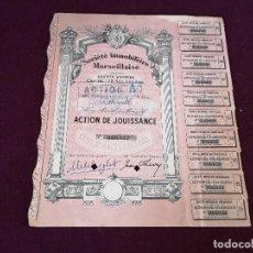 Collectionnisme Actions Internationales: 1955, ANTIGUA ACCIÓN FRANCESA, SOCIEDAD INMOBILIARIA MARSELLESA, MARSELLA, 28 X 23 CMS.. Lote 287068288